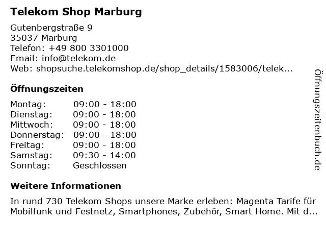 Telekom Shop Marburg in Marburg: Adresse und Öffnungszeiten