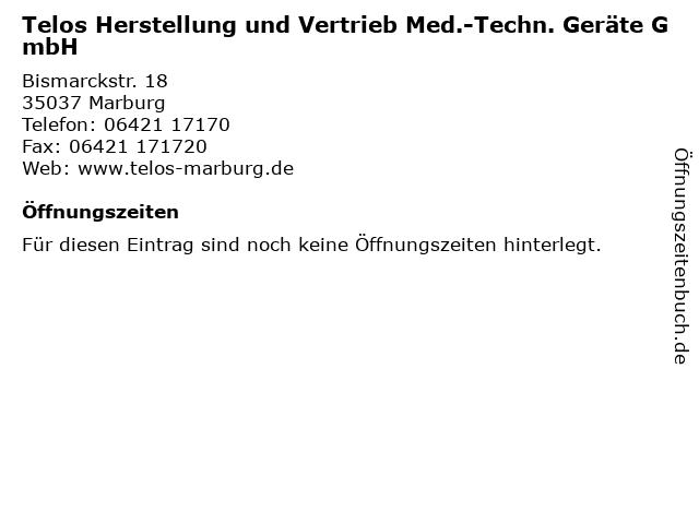 Telos Herstellung und Vertrieb Med.-Techn. Geräte GmbH in Marburg: Adresse und Öffnungszeiten