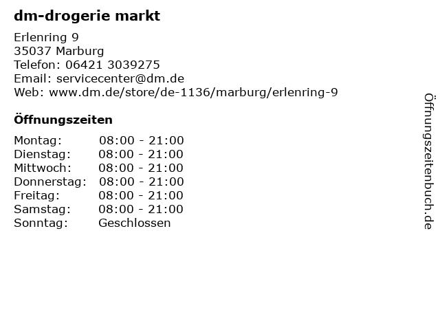 dm-drogerie markt GmbH + Co. KG in Marburg: Adresse und Öffnungszeiten