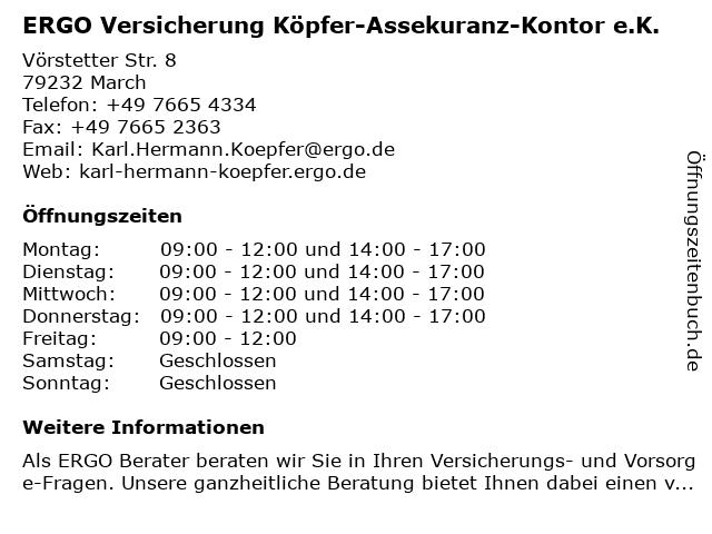 ERGO Versicherung Köpfer-Assekuranz-Kontor e.K. in March: Adresse und Öffnungszeiten