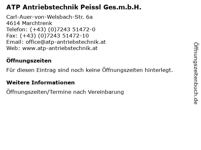 ATP Antriebstechnik Peissl Ges.m.b.H. in Marchtrenk: Adresse und Öffnungszeiten