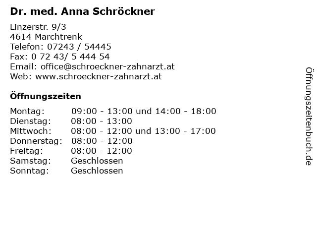 Dr. med. Anna Schröckner in Marchtrenk: Adresse und Öffnungszeiten