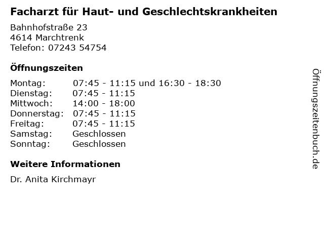 Facharzt für Haut- und Geschlechtskrankheiten in Marchtrenk: Adresse und Öffnungszeiten