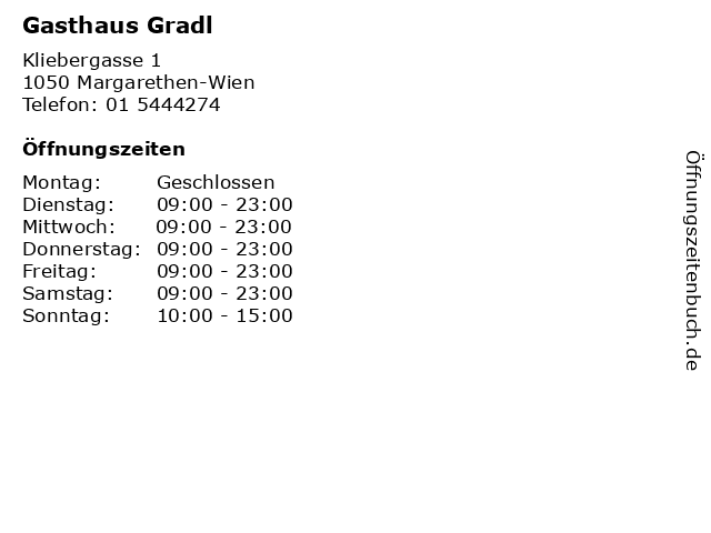 Gasthaus Gradl in Margarethen-Wien: Adresse und Öffnungszeiten