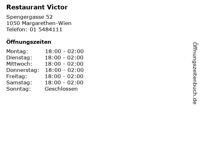 Restaurant Victor in Margarethen-Wien: Adresse und Öffnungszeiten