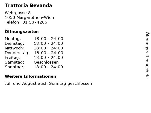 Trattoria Bevanda in Margarethen-Wien: Adresse und Öffnungszeiten
