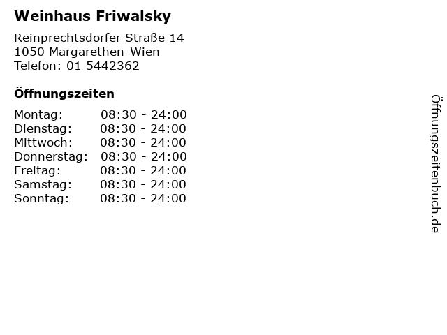 Weinhaus Friwalsky in Margarethen-Wien: Adresse und Öffnungszeiten