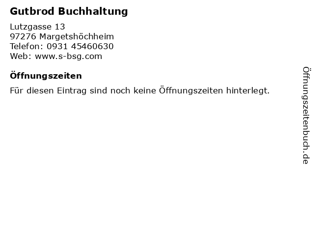 Gutbrod Buchhaltung in Margetshöchheim: Adresse und Öffnungszeiten