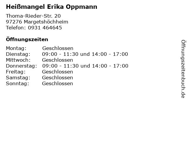 Heißmangel Erika Oppmann in Margetshöchheim: Adresse und Öffnungszeiten
