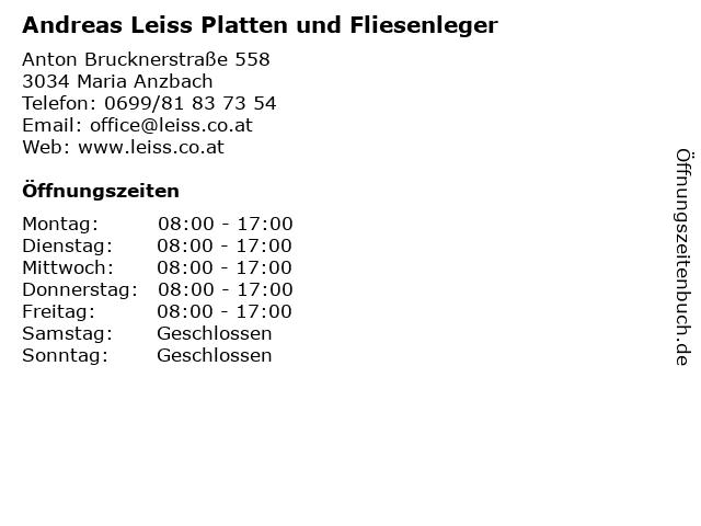 Andreas Leiss Platten und Fliesenleger in Maria Anzbach: Adresse und Öffnungszeiten