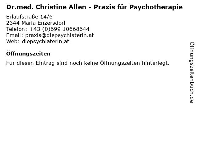 Dr.med. Christine Allen - Praxis für Psychotherapie in Maria Enzersdorf: Adresse und Öffnungszeiten
