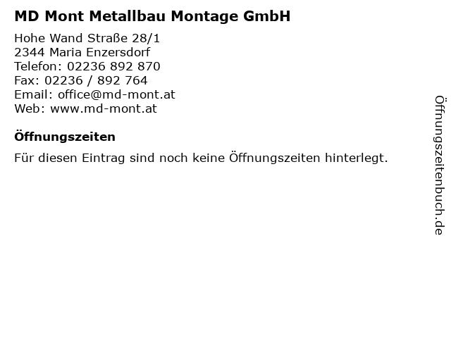 MD Mont Metallbau Montage GmbH in Maria Enzersdorf: Adresse und Öffnungszeiten