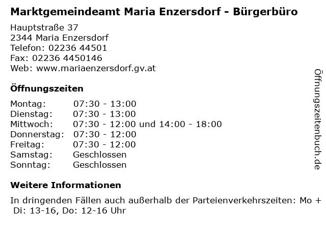 Marktgemeindeamt Maria Enzersdorf - Bürgerbüro in Maria Enzersdorf: Adresse und Öffnungszeiten