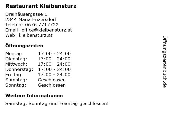 Restaurant Kleibensturz in Maria Enzersdorf: Adresse und Öffnungszeiten