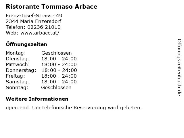 Ristorante Tommaso Arbace in Maria Enzersdorf: Adresse und Öffnungszeiten