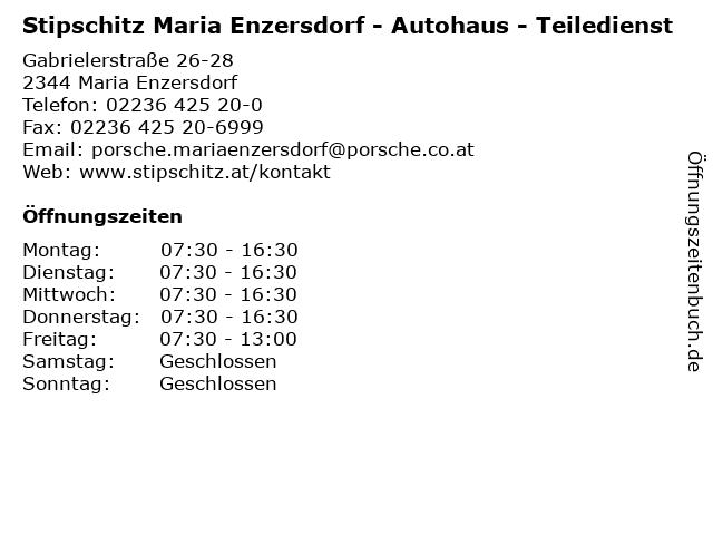 Stipschitz Maria Enzersdorf - Autohaus - Teiledienst in Maria Enzersdorf: Adresse und Öffnungszeiten