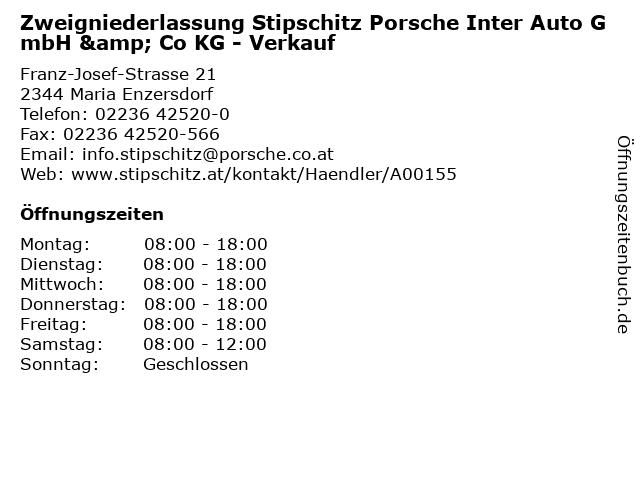 Zweigniederlassung Stipschitz Porsche Inter Auto GmbH & Co KG - Verkauf in Maria Enzersdorf: Adresse und Öffnungszeiten