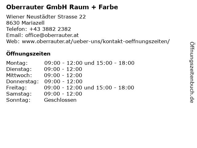 Oberrauter GmbH Raum + Farbe in Mariazell: Adresse und Öffnungszeiten