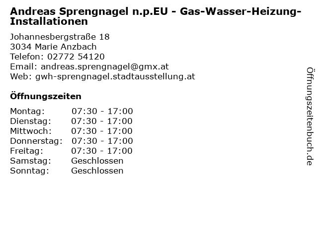 Andreas Sprengnagel n.p.EU - Gas-Wasser-Heizung-Installationen in Marie Anzbach: Adresse und Öffnungszeiten