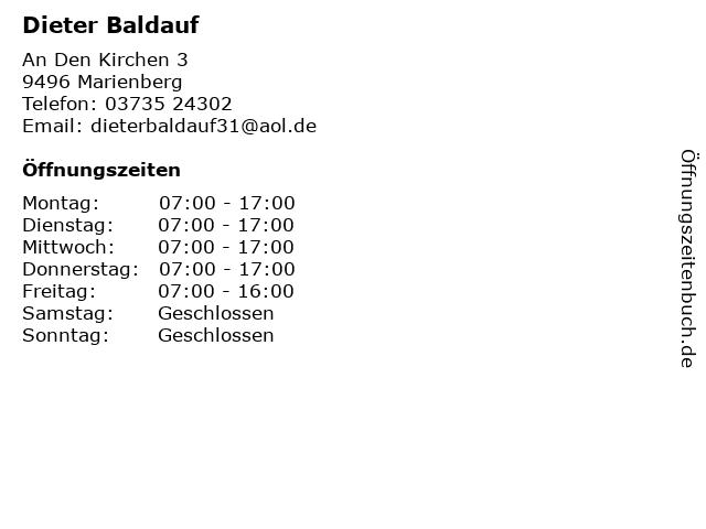 Dieter Baldauf in Marienberg: Adresse und Öffnungszeiten