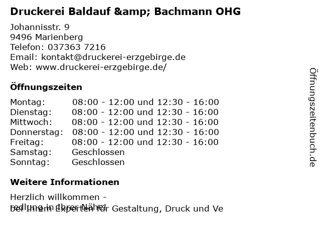 Druckerei Baldauf & Bachmann OHG in Marienberg: Adresse und Öffnungszeiten