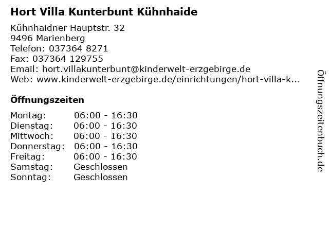 Hort Villa Kunterbunt Kühnhaide in Marienberg: Adresse und Öffnungszeiten
