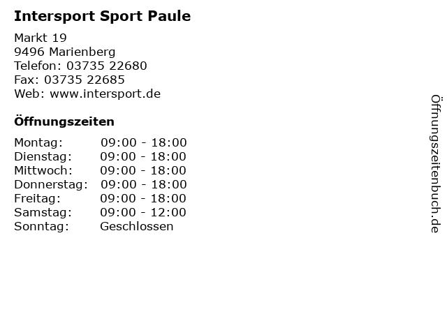 Intersport Sport Paule in Marienberg: Adresse und Öffnungszeiten