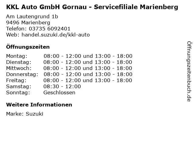 KKL Auto GmbH Gornau - Servicefiliale Marienberg in Marienberg: Adresse und Öffnungszeiten