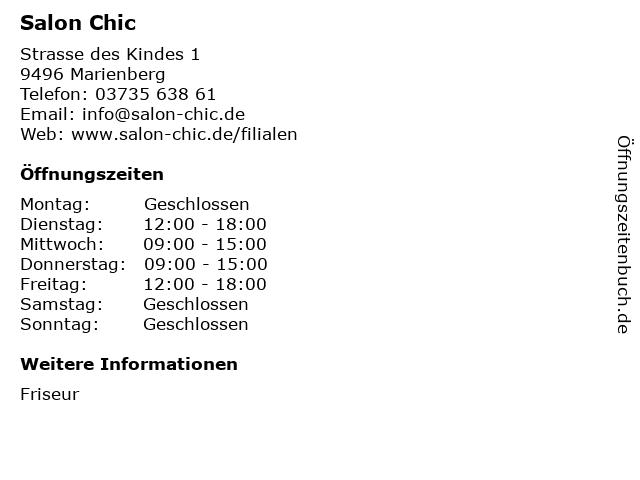 Salon Chic in Marienberg: Adresse und Öffnungszeiten