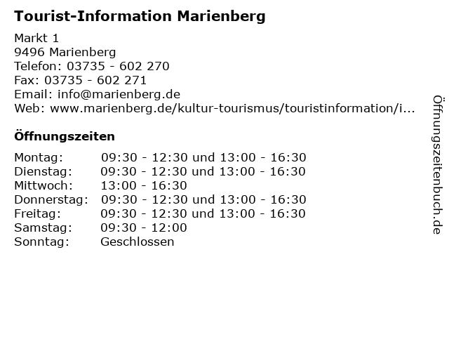 Tourist-Information Marienberg in Marienberg: Adresse und Öffnungszeiten