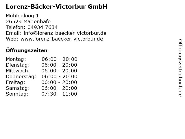 Lorenz-Bäcker-Victorbur GmbH in Marienhafe: Adresse und Öffnungszeiten