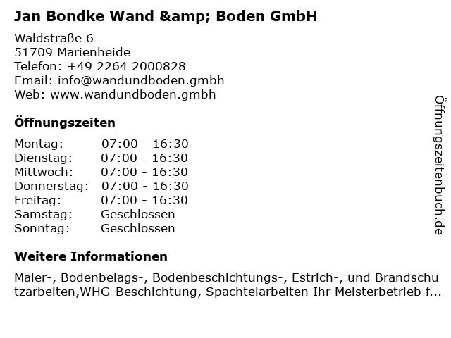Jan Bondke GmbH in Marienheide: Adresse und Öffnungszeiten