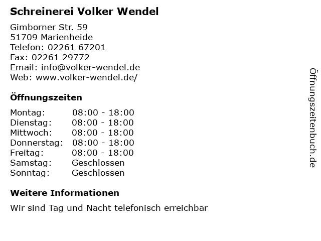 Volker Wendel in Marienheide: Adresse und Öffnungszeiten
