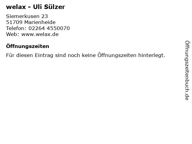welax - Uli Sülzer in Marienheide: Adresse und Öffnungszeiten
