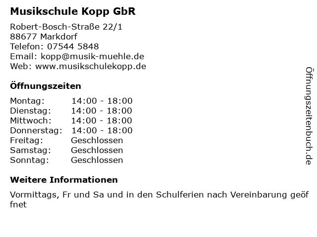 Musikschule Kopp GbR in Markdorf: Adresse und Öffnungszeiten
