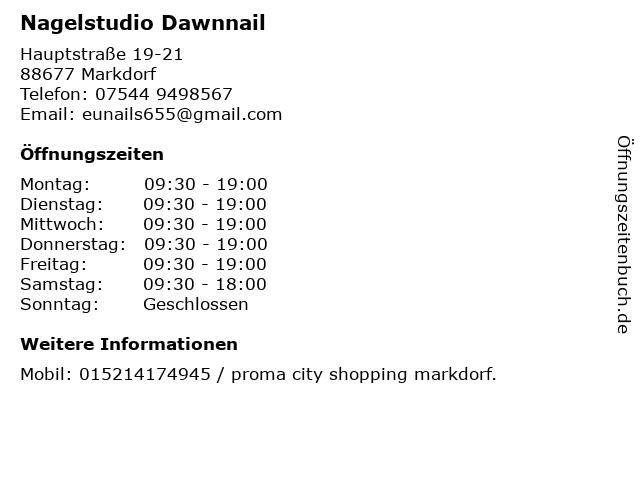 Nagelstudio Dawnnail in Markdorf: Adresse und Öffnungszeiten