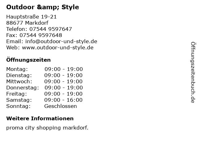 Outdoor & Style in Markdorf: Adresse und Öffnungszeiten