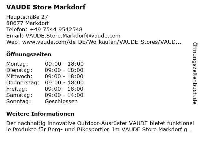 VAUDE Store Markdorf in Markdorf: Adresse und Öffnungszeiten