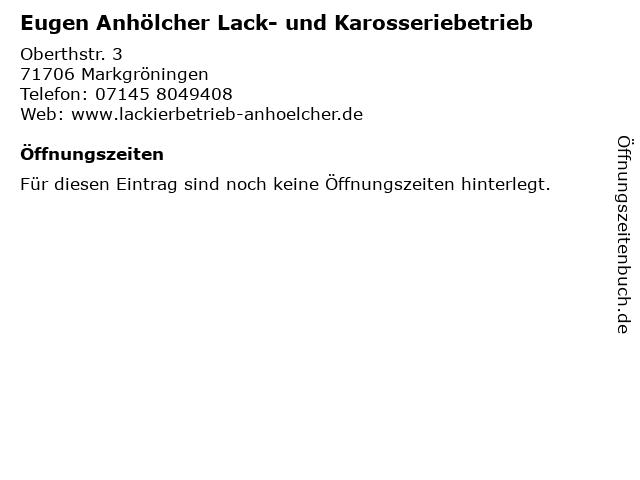 Eugen Anhölcher Lack- und Karosseriebetrieb in Markgröningen: Adresse und Öffnungszeiten