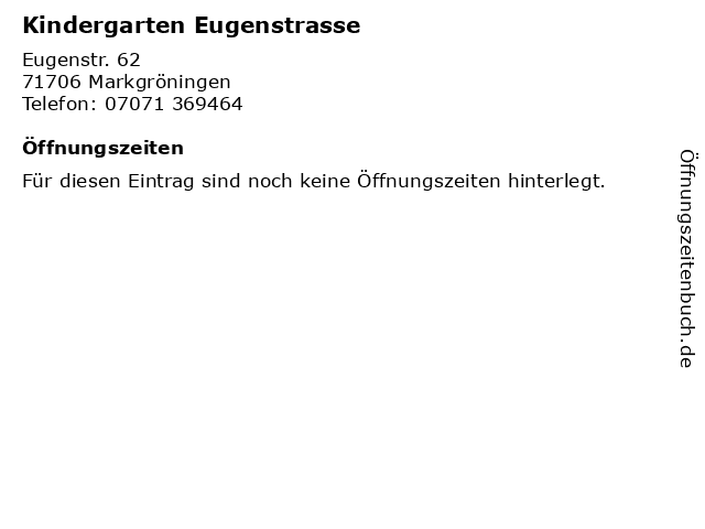 Kindergarten Eugenstrasse in Markgröningen: Adresse und Öffnungszeiten