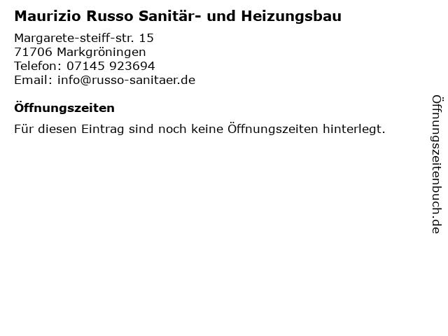 Russo Sanitär und Heizung - Bürozeiten in Markgröningen: Adresse und Öffnungszeiten