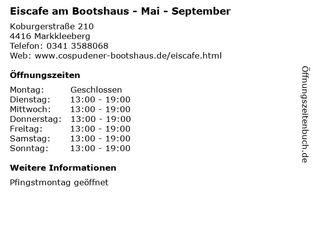 Eiscafe am Bootshaus - Mai - September in Markkleeberg: Adresse und Öffnungszeiten
