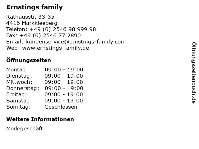 Ernstings family in Markkleeberg: Adresse und Öffnungszeiten