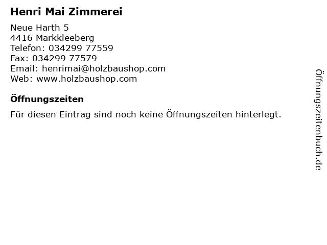 Henri Mai Zimmerei in Markkleeberg: Adresse und Öffnungszeiten