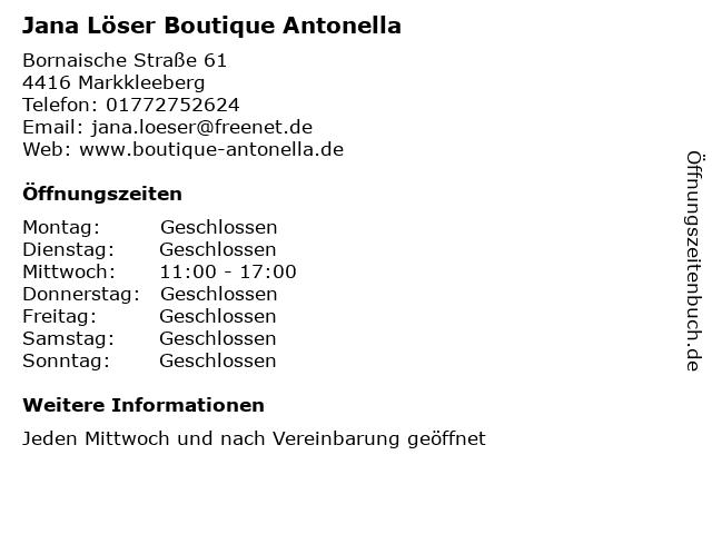Jana Löser Boutique Antonella in Markkleeberg: Adresse und Öffnungszeiten
