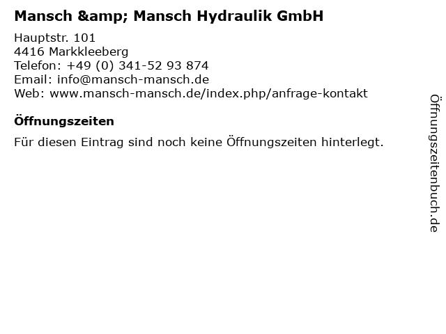 Mansch & Mansch Hydraulik GmbH in Markkleeberg: Adresse und Öffnungszeiten