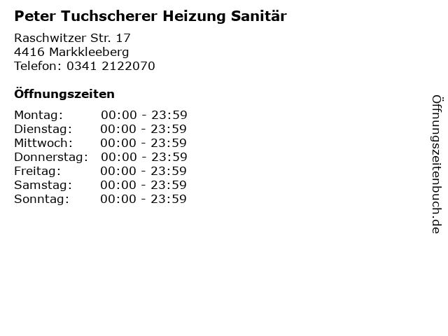 Peter Tuchscherer Heizung Sanitär in Markkleeberg: Adresse und Öffnungszeiten