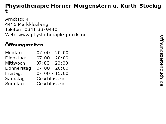 Physiotherapie Hörner-Morgenstern u. Kurth-Stöckigt in Markkleeberg: Adresse und Öffnungszeiten