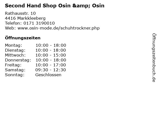 Second Hand Shop Osin & Osin in Markkleeberg: Adresse und Öffnungszeiten