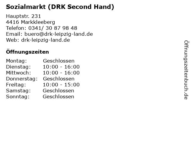 Sozialmarkt (DRK Second Hand) in Markkleeberg: Adresse und Öffnungszeiten